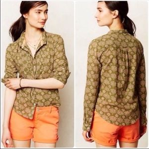 Holding Horses Anthropologie Ismay top green pink